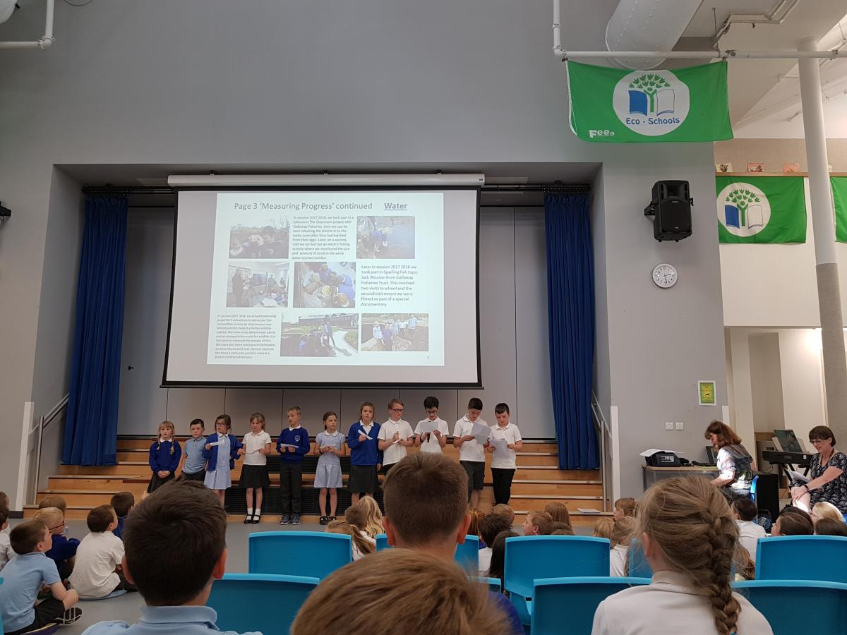The Eco Committee from Dalbeattie Primary put on a fantastic display of their Eco School journey