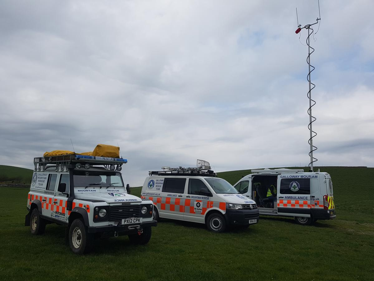 Team vehicles at search around Bladnoch